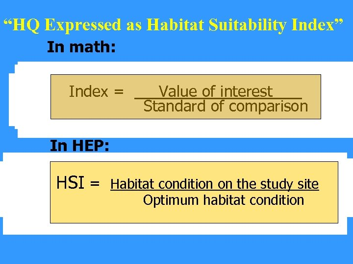 """HQ Expressed as Habitat Suitability Index"" In math: 30 = Bird species seen on"