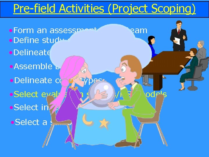 Pre-field Activities (Project Scoping) • Form an assessment (HEP) team • Define study objectives