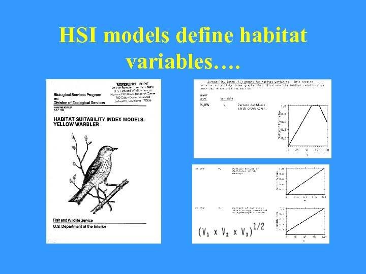HSI models define habitat variables….