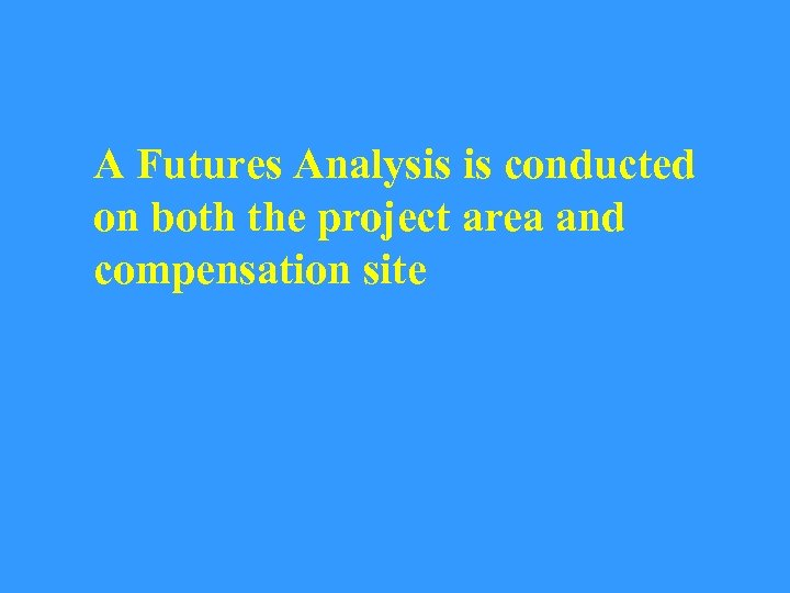 A Futures Analysis is conducted on both the project area and compensation site