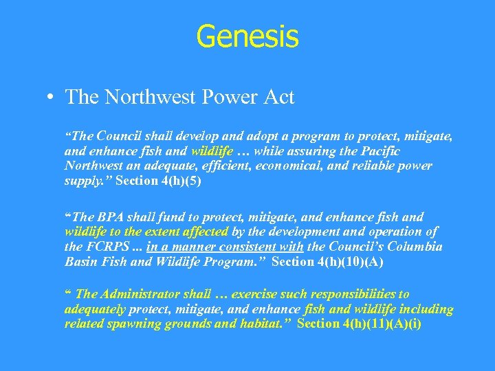 "Genesis • The Northwest Power Act ""The Council shall develop and adopt a program"