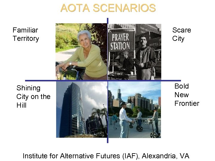 AOTA SCENARIOS Familiar Territory Shining City on the Hill Scare City Bold New Frontier