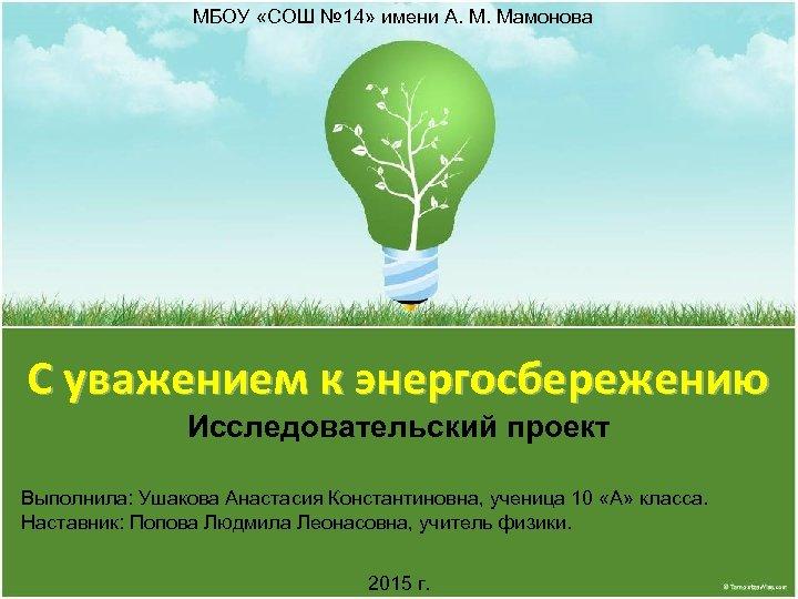 МБОУ «СОШ № 14» имени А. М. Мамонова С уважением к энергосбережению Исследовательский проект