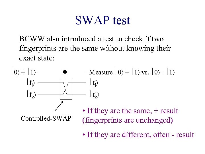 SWAP test BCWW also introduced a test to check if two fingerprints are the