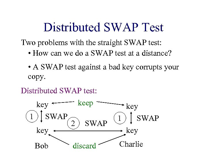 Distributed SWAP Test Two problems with the straight SWAP test: • How can we