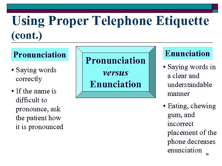 Using Proper Telephone Etiquette (cont. ) Pronunciation • Saying words correctly • If the