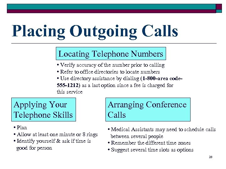 Placing Outgoing Calls Locating Telephone Numbers • Verify accuracy of the number prior to