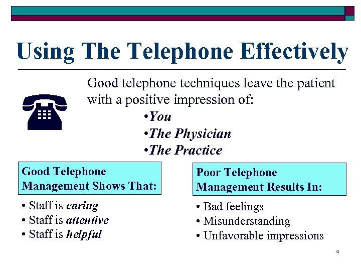 Using The Telephone Effectively Good telephone techniques leave the patient with a positive impression