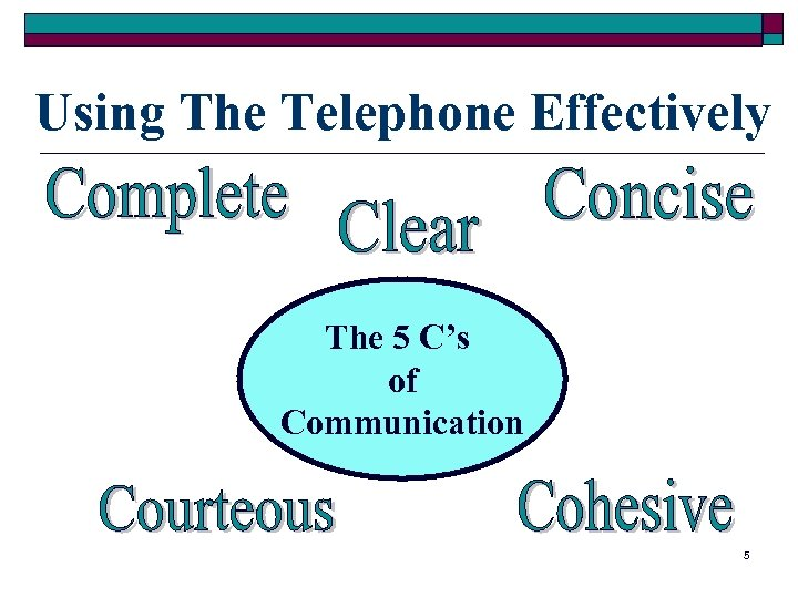 Using The Telephone Effectively The 5 C's of Communication 5