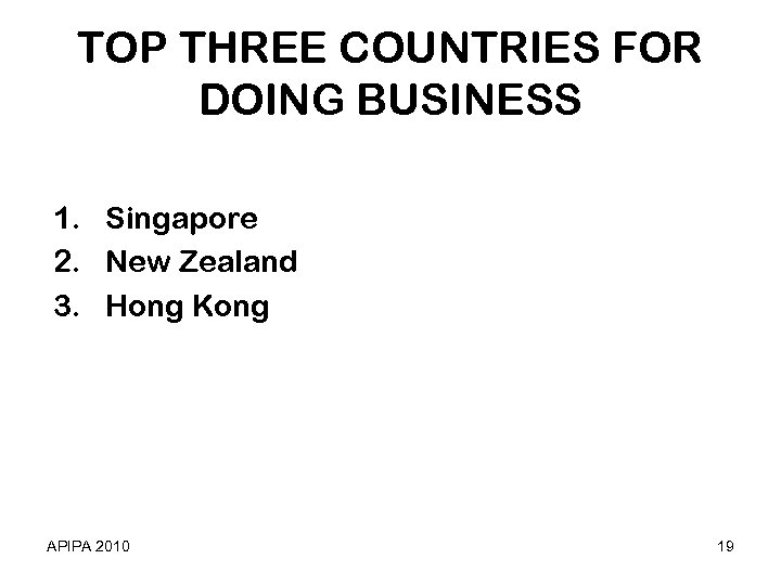 TOP THREE COUNTRIES FOR DOING BUSINESS 1. Singapore 2. New Zealand 3. Hong Kong