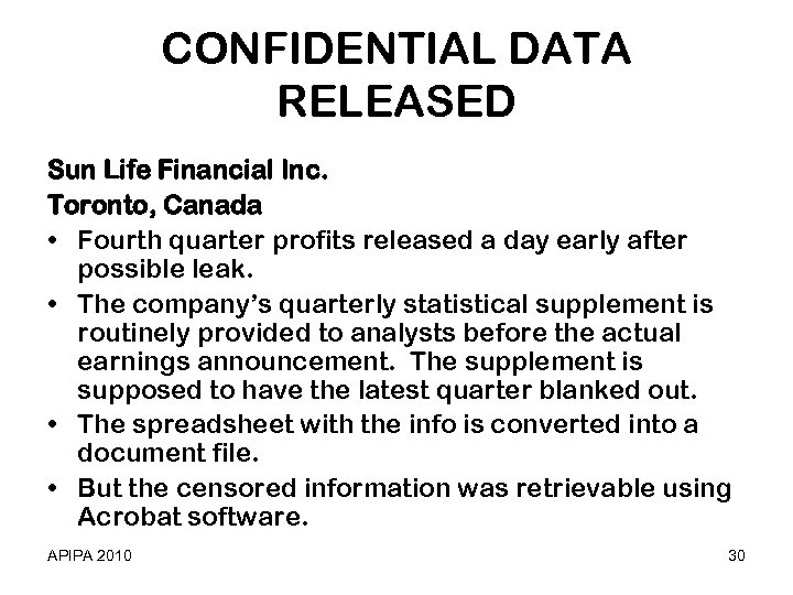 CONFIDENTIAL DATA RELEASED Sun Life Financial Inc. Toronto, Canada • Fourth quarter profits released
