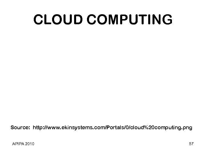CLOUD COMPUTING Source: http: //www. ekinsystems. com/Portals/0/cloud%20 computing. png APIPA 2010 57