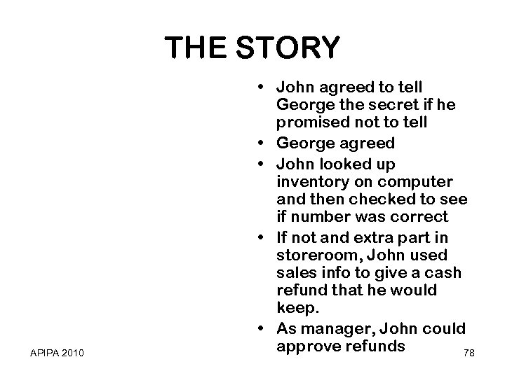 THE STORY APIPA 2010 • John agreed to tell George the secret if he