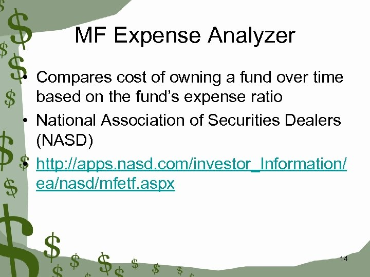 MF Expense Analyzer • Compares cost of owning a fund over time based on