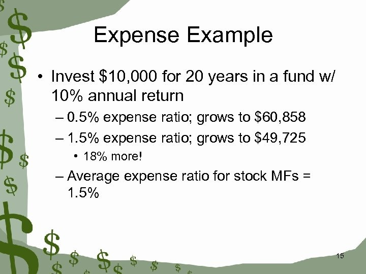 Expense Example • Invest $10, 000 for 20 years in a fund w/ 10%