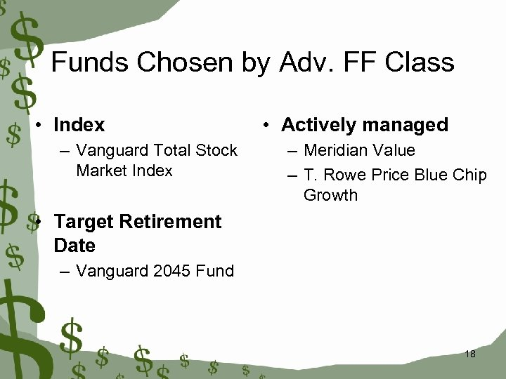 Funds Chosen by Adv. FF Class • Index – Vanguard Total Stock Market Index