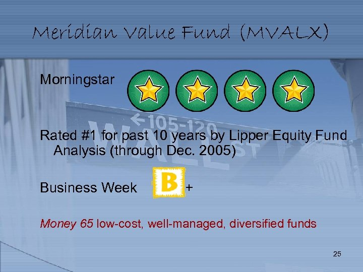 Meridian Value Fund (MVALX) Morningstar Rated #1 for past 10 years by Lipper Equity