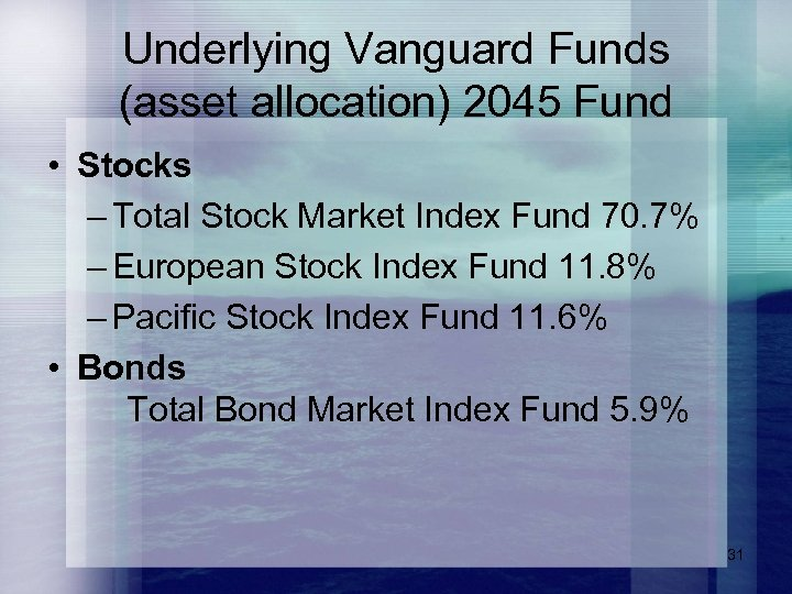 Underlying Vanguard Funds (asset allocation) 2045 Fund • Stocks – Total Stock Market Index