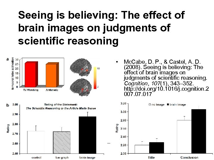 Seeing is believing: The effect of brain images on judgments of scientific reasoning •