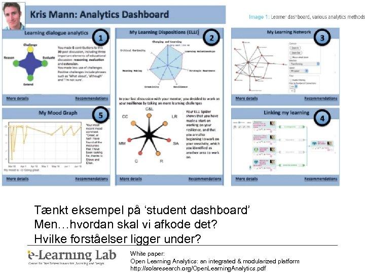 Tænkt eksempel på 'student dashboard' Men…hvordan skal vi afkode det? Hvilke forståelser ligger under?