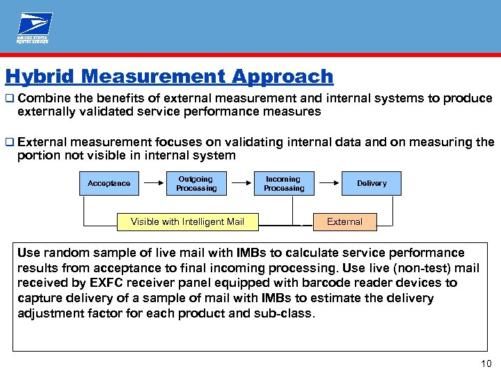 Hybrid Measurement Approach q Combine the benefits of external measurement and internal systems to