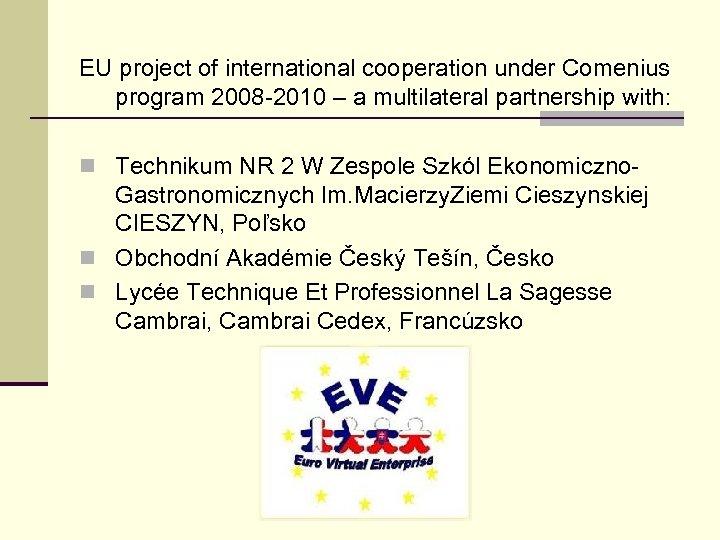 EU project of international cooperation under Comenius program 2008 -2010 – a multilateral partnership