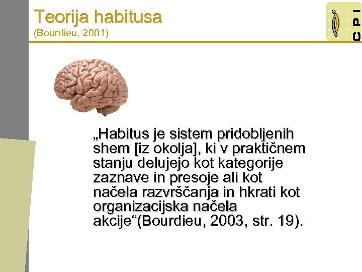 "Teorija habitusa (Bourdieu, 2001) ""Habitus je sistem pridobljenih shem [iz okolja], ki v praktičnem"