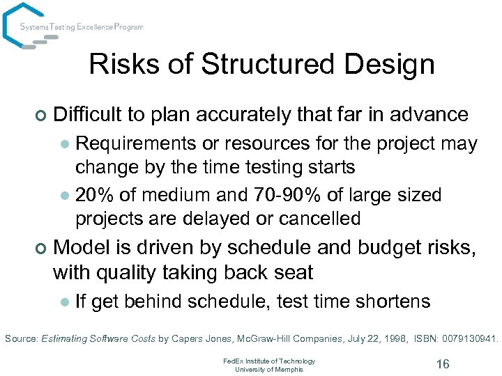 Risks of Structured Design ¢ Difficult to plan accurately that far in advance Requirements