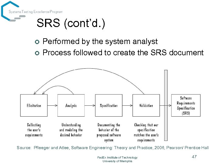 SRS (cont'd. ) ¢ ¢ Performed by the system analyst Process followed to create