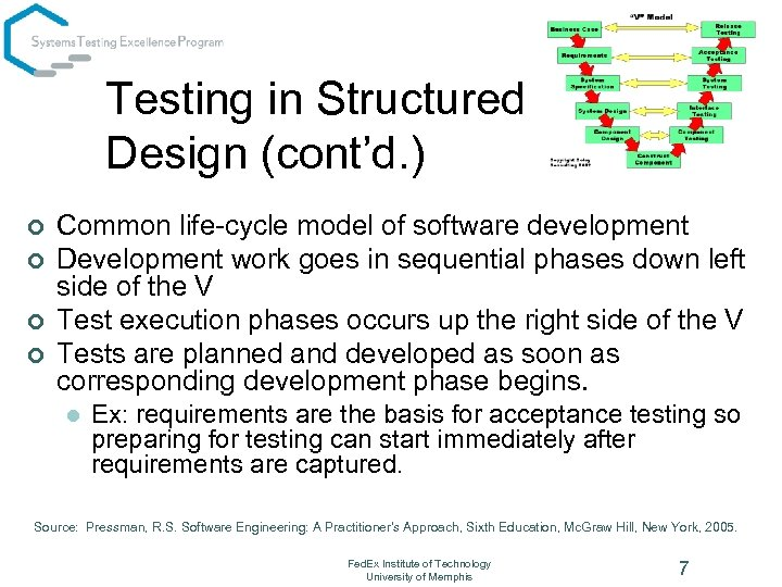 Testing in Structured Design (cont'd. ) ¢ ¢ Common life-cycle model of software development