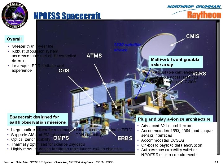 NPOESS Spacecraft Overall • Greater than 7 -year life • Robust propulsion system accommodates
