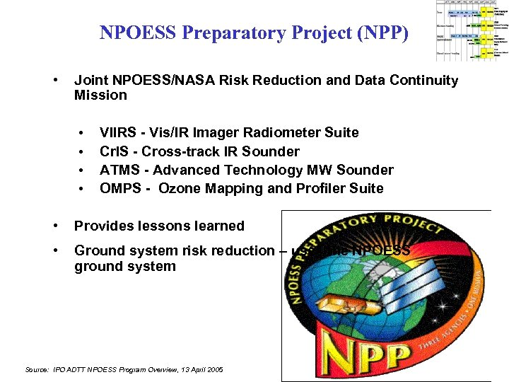 NPOESS Preparatory Project (NPP) • Joint NPOESS/NASA Risk Reduction and Data Continuity Mission •