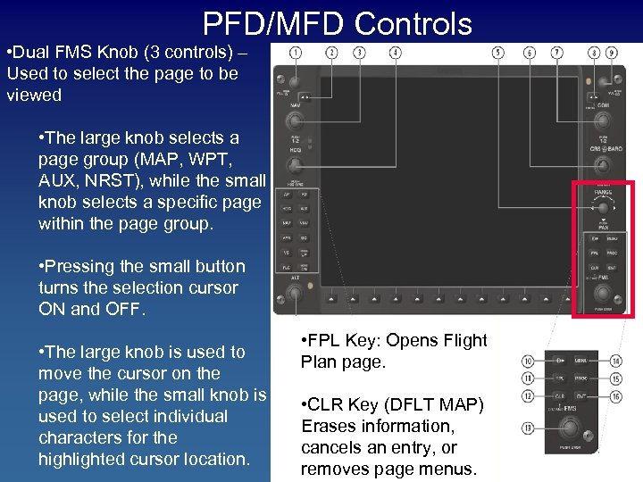 PFD/MFD Controls • Dual FMS Knob (3 controls) – Used to select the page