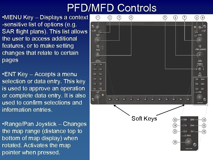 PFD/MFD Controls • MENU Key – Displays a context -sensitive list of options (e.
