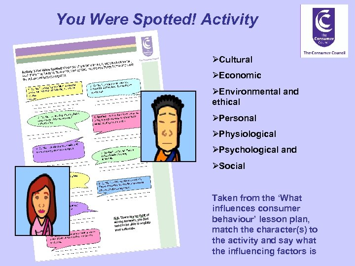 You Were Spotted! Activity ØCultural ØEconomic ØEnvironmental and ethical ØPersonal ØPhysiological ØPsychological and ØSocial