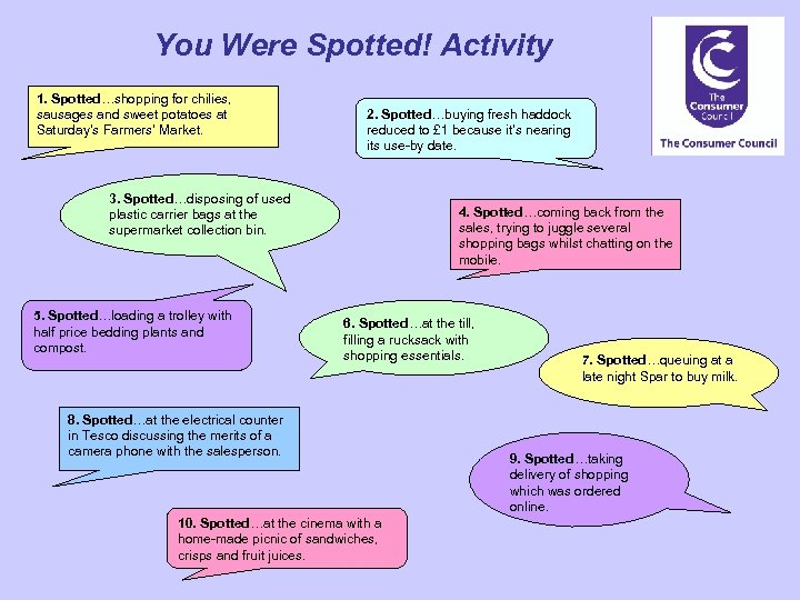 You Were Spotted! Activity 1. Spotted…shopping for chilies, sausages and sweet potatoes at Saturday's