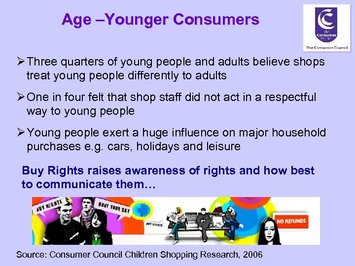 Age –Younger Consumers Ø Three quarters of young people and adults believe shops treat