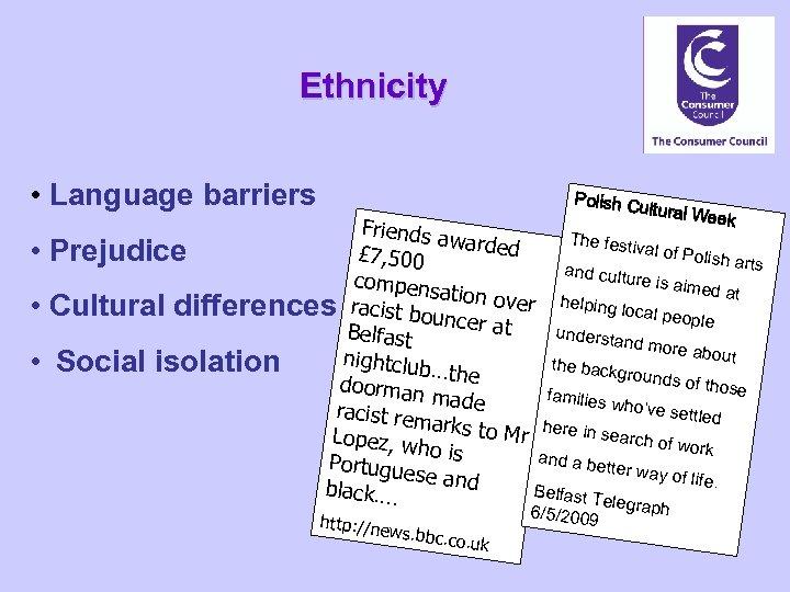 Ethnicity • Language barriers • • • Polish C ultural W e ek Friends