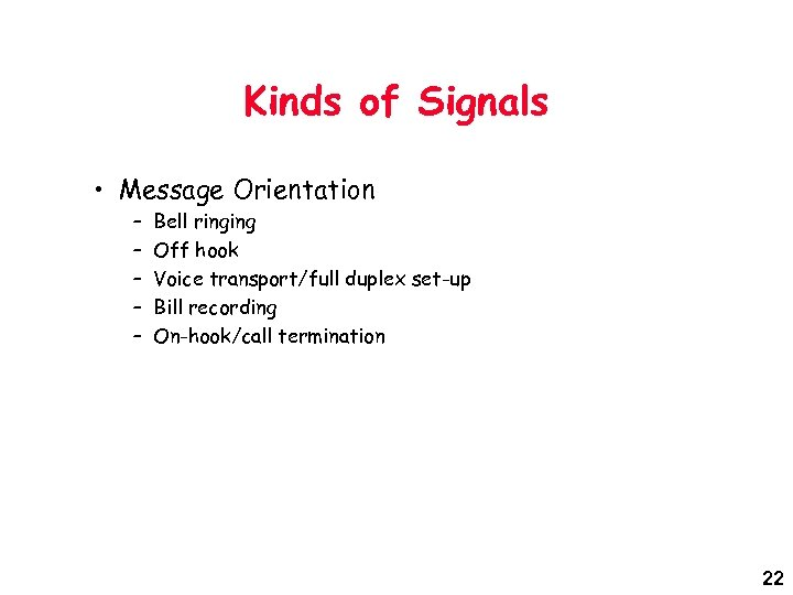 Kinds of Signals • Message Orientation – – – Bell ringing Off hook Voice
