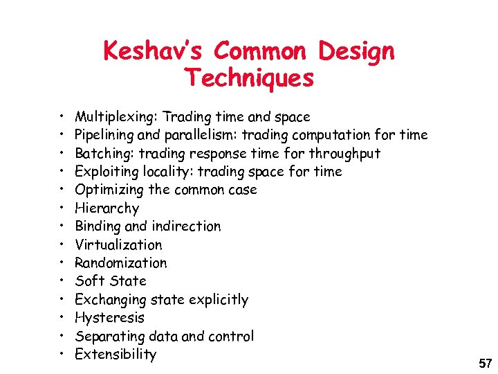 Keshav's Common Design Techniques • • • • Multiplexing: Trading time and space Pipelining