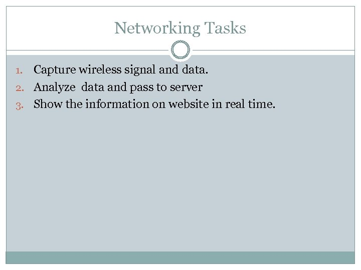 Networking Tasks Capture wireless signal and data. 2. Analyze data and pass to server