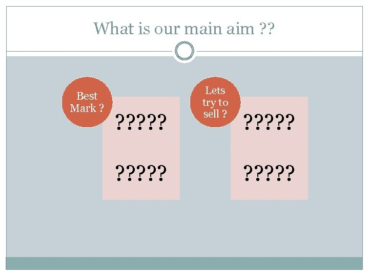 What is our main aim ? ? Best Mark ? ? ? ? ?