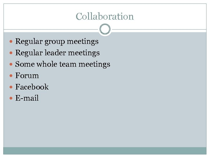 Collaboration Regular group meetings Regular leader meetings Some whole team meetings Forum Facebook E-mail