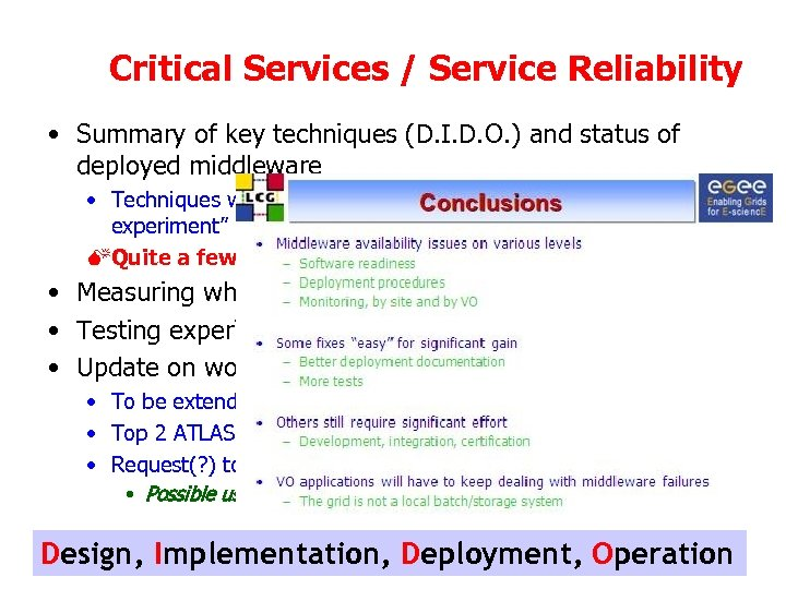 Critical Services / Service Reliability • Summary of key techniques (D. I. D. O.