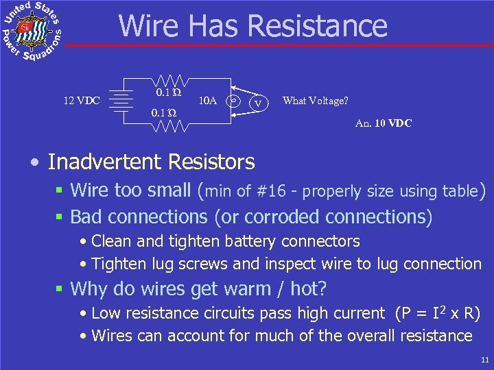 Wire Has Resistance 12 VDC 0. 1 Ώ 10 A V What Voltage? An.