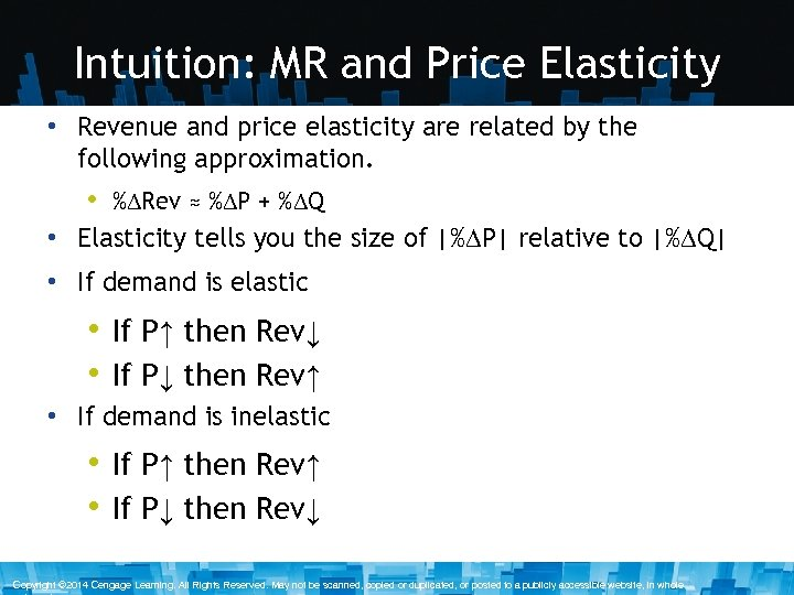 Intuition: MR and Price Elasticity • Revenue and price elasticity are related by the