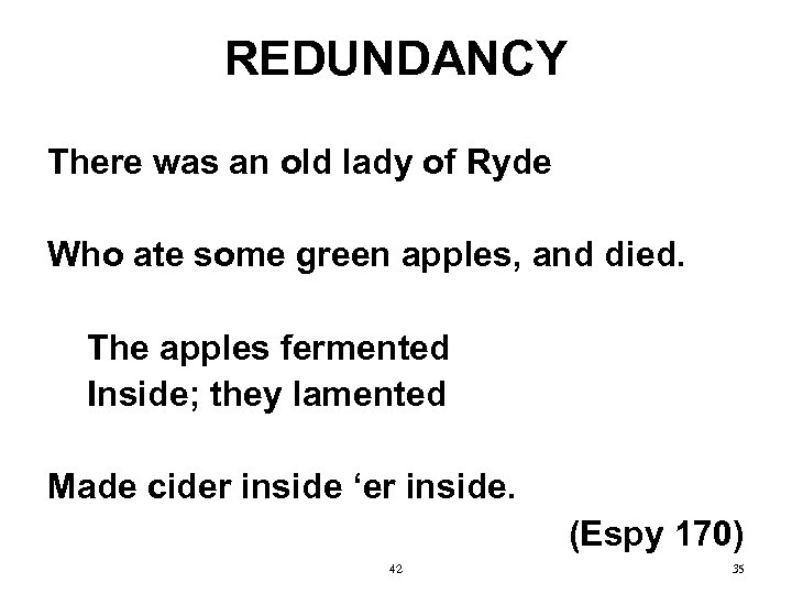REDUNDANCY There was an old lady of Ryde Who ate some green apples, and