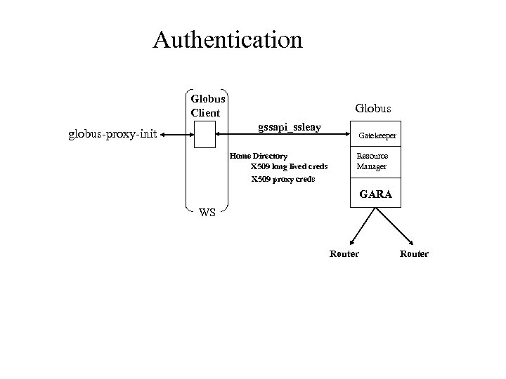 Authentication Globus Client Globus gssapi_ssleay globus-proxy-init Home Directory X 509 long lived creds X