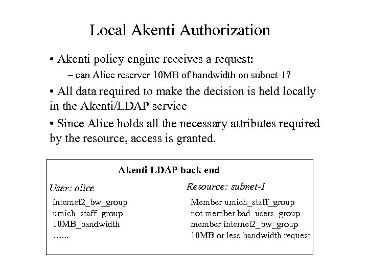 Local Akenti Authorization • Akenti policy engine receives a request: – can Alice reserver