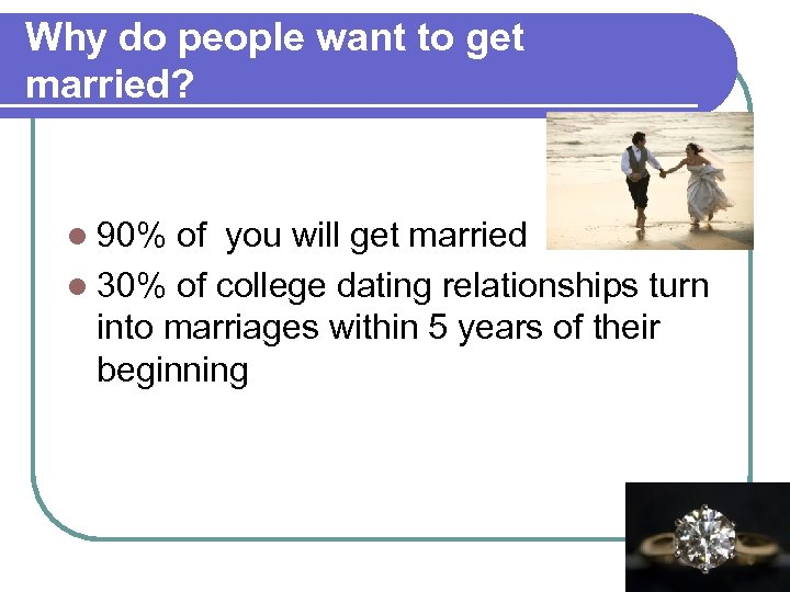 Why do people want to get married? l 90% of you will get married